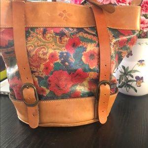 Shoulder bag leather floral brown bag